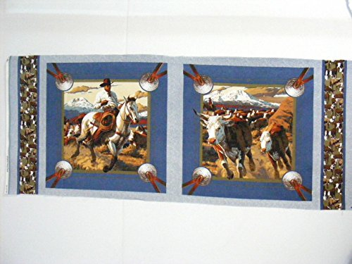 Two Pillow Panel Fabric, Cattle Drive Pillow Panel CB18 - Panel Pillow Cowboy