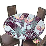kitchen 67 bistro PINAFORE Round Premium Tablecloth Tropical Flowers Jungle Leaves Bird of Paradise Flower Beautiful Seamless Floral Stain Resistant 47.5