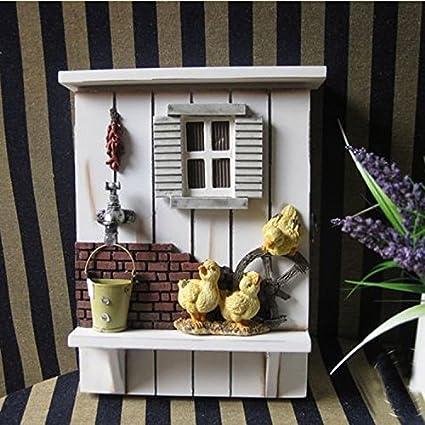 Registrador de pared Caja de llaves Marco tridimensional Decoración para el hogar 20x8x28cm
