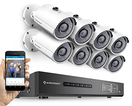 Amcrest ProHD 720P 8CH Video Security System - Eight 1.0-Megapixel (1280TVL) Outdoor IP67 Bullet Cameras, 2TB HDD, Night Vision, Remote Smartphone Access, White Mid (AMDV7208M-8B-W)
