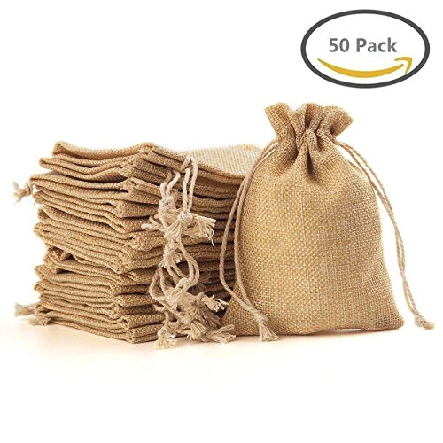 "5"" x 7"" Burlap Bags with Jute Drawstring for Holiday Party Birthday Wedding Gift Jewelry Treat DIY Craft Favor Bags Sack Pouch, Biodegradable Linen Absorbs Moisture Oil-50 Pack"
