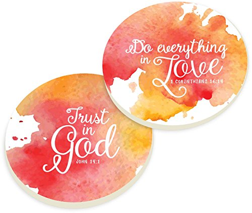 P Graham Dunn Trust In God Do Everything In Love Watercolor Red Orange Ceramic Car Coaster Pack Red/Orange (Set of 2) 3 x 3
