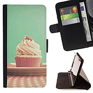 King Air - Premium PU Leather Wallet Case with Card Slots, Cash Compartment and Detachable Wrist Strap FOR Samsung Galaxy S4 Mini i9190 I9192- Ice Cream Summer