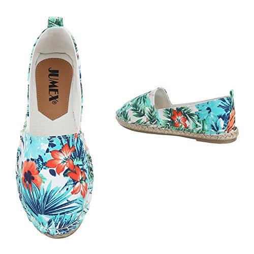 Ital-Design Slipper Damenschuhe Low-Top Moderne Halbschuhe Weiß Multi