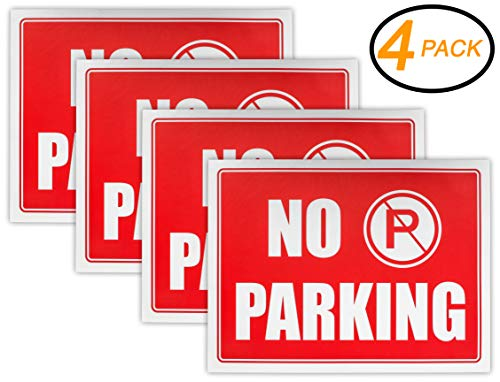 Ram-Pro NO Parking Sign - 9 High x 12 Wide Red on White Reflective Plastic Signs for Driveway, Personal Parking Space (Pack of 4)