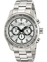 Invicta Mens Speedway Quartz Stainless Steel Watch, Color:Silver-Toned (Model: 21794)