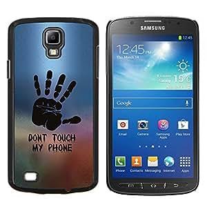 KLONGSHOP // Cubierta de piel con cierre a presión Shell trasero duro de goma Protección Caso - NO TOQUE MI TELÉFONO - Samsung Galaxy S4 Active i9295 //