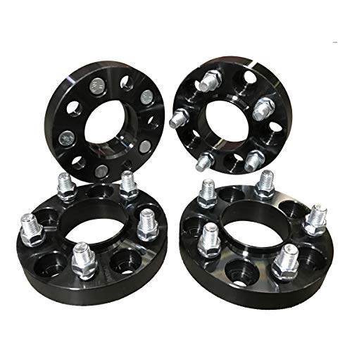FAS Motorsports 5x4.5 Hubcentric Wheel Spacers (1 inch) 25.4mm (70.5mm bore, 14x1.5 Studs) 5 Lug wheelspacer for Ford Mustang (2015, 2016, 2017, 2018) (Black) (4 Pieces)