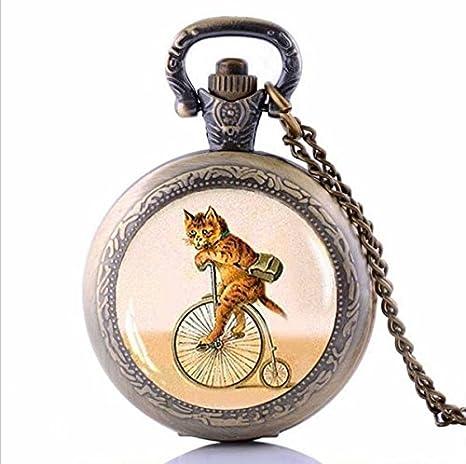 Retro gato en bicicleta gargantilla gato Hipster bicicleta reloj ...