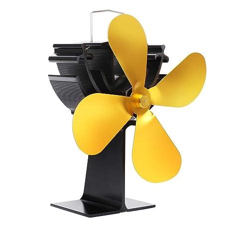 kingpo termodinámico sin batería o energía Auto Ventilador de calefacción de Chimenea Ajustable Calor de Estufa