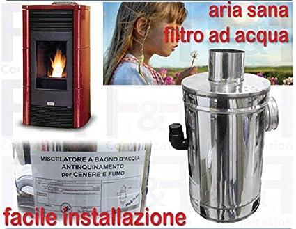 Filtro de agua para estufas de pellets, reductor de humos con patente certificada, de