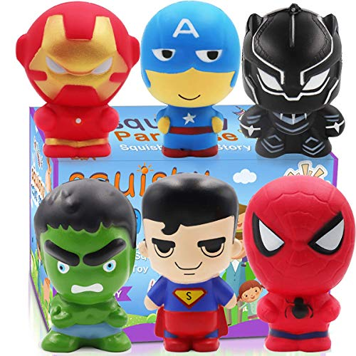 POKONBOY Jumbo Squishies Super Hero - 6 Pack Super Hero Squishy Toys Scented Squishies Pack Party Favors for Boys Stress Relief Toys Easter Decorations Easter Egg Fillers -