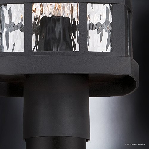 Luxury Craftsman Outdoor Post Light, Medium Size: 16.5''H x 9.5''W, with Tudor Style Elements, Highly-Detailed Design, High-End Black Silk Finish and Water Glass, UQL1246 by Urban Ambiance by Urban Ambiance (Image #4)