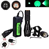 VastFire 350 yard Zoomable Adjustable Focus Green Q5 LED Tactical Hunting Flashlight Torch Coyote Hog Fishing Varmint Predator Light With Remote Pressure Switch & Scope, Rail or Barrel Rifle Mount
