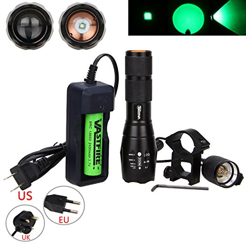 VastFire 350 yard Zoomable Adjustable Focus Green Q5 LED Tactical Hunting Flashlight Torch Coyote Hog Pig Varmint Predator Light With Remote Pressure Switch & Scope, Rail or Barrel Rifle Mount (Green Flashlight Mount)