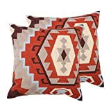 Zavaro Home Decorative Fully Embroidered Canvas Geometric Aztec Sofa Bed Patio Car Throw Pillow Set of 2 (18' x 18'') Terracota Clay Rust Cover ONLY