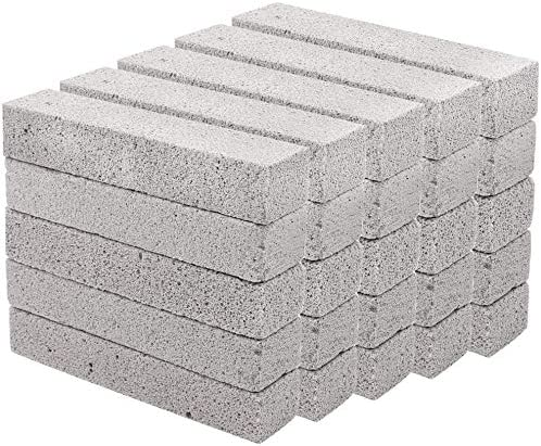 Hatoku 25 Pieces Pumice Stones for Cleaning Grey Pumice Scouring Pad Pumice Stick Cleaner for Removing Toilet Bowl Ring Bath Kitchen Pool Household Cleaning (5.9 x 1.4 x 0.9 Inches)