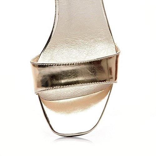 AllhqFashion Mujeres Tacón ancho Charol Sólido Velcro Puntera Abierta Sandalia Gold