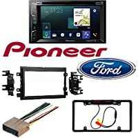 2004-2016 Ford F250/350/450/550 Pioneer AVH-1300NEX Double 2 DIN DVD/CD Player Bluetooth Mirrors iPhone CarPlay Car License Plate Rearview Camera - Black CAM810B