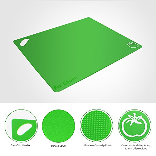 Fu Store Extra Thick Flexible Plastic Kitchen Cutting Board Mats Set, Set of 4 Colored Mats with Food Icons & Easy-Grip Handles, BPA-Free & FDA Approved, Non-Porous by Fu Store (Image #2)'