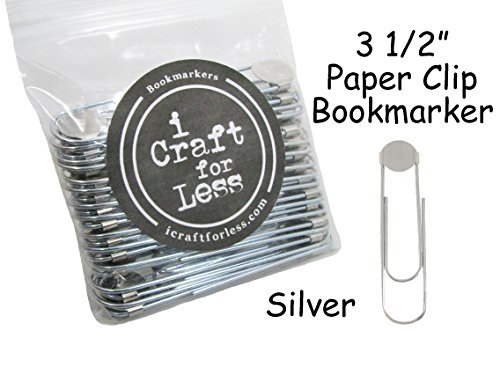 Bookmarker Paperclips with Pad - Pick Color (Qty 25, Silver)