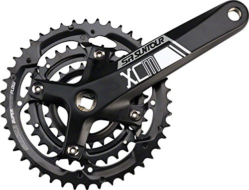 SR Suntour Crankset Xcm 9-speed 44/32/22 175mm Square Taper: Black