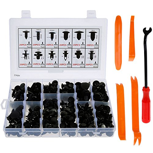 Lictin 240Pcs Universal Auto Black Nylon Clips Plastic Rivet, Car Trim Clips Push Retainers Clips Set Retainers Assortment with 4pcs Interior Trim Panel Removal Pry Tool and Free Fastener Remover Nylon Car