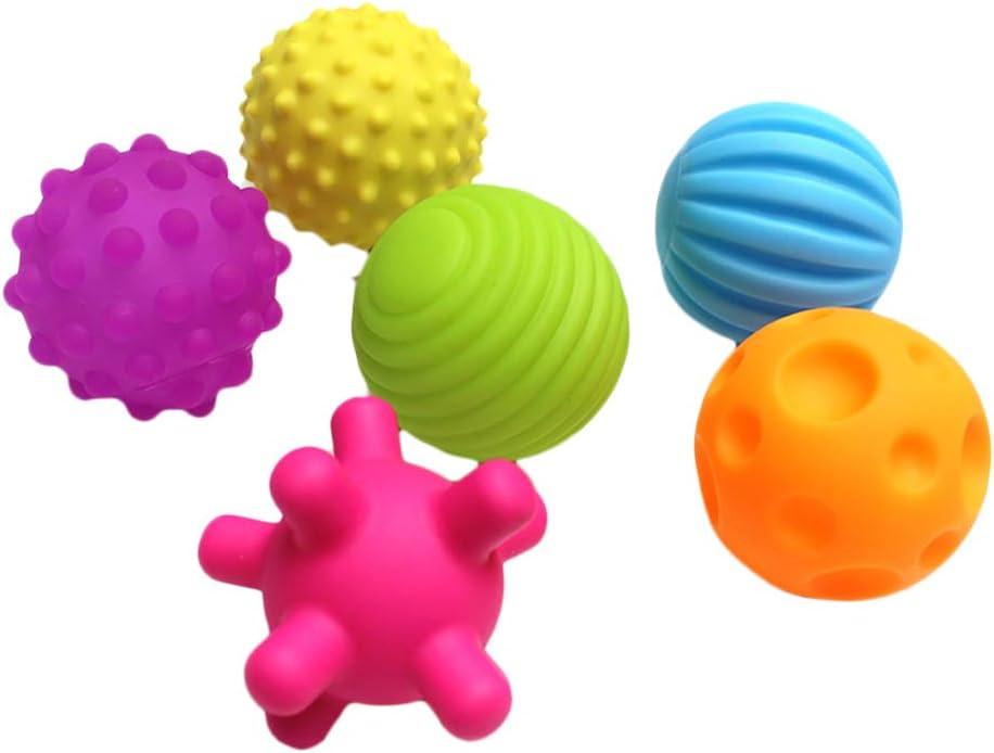 Bolas Sensoriales Bebé Piscina sin BPA con Sonido,6PCS Bolas de Masaje Pelotas Sensoriales de Mano para Bebé con Sonido Infantil Pelota Educativa Suaves Garre Juguete de Baño