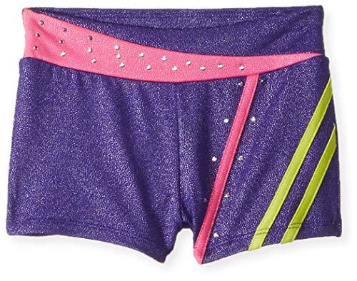 Jacques Moret Girls' Big Dance/Gymnastics Short, Cosmo Sky Purple/Firefly/Pink Star, -