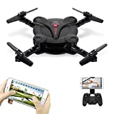 Goolsky FQ17W Mini RC Quadcopter Foldable Drone with WiFi FPV Camera Live Video Altitude Hold&3D Flips&Gravity Sensor Phone Control or Remote Controller