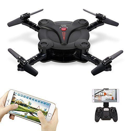 Goolsky FQ17W Mini RC Quadcopter Foldable Drone with WiFi FPV Camera Live Video Altitude Hold&3D Flips&Gravity Sensor Phone Control or Remote Controller by Goolsky