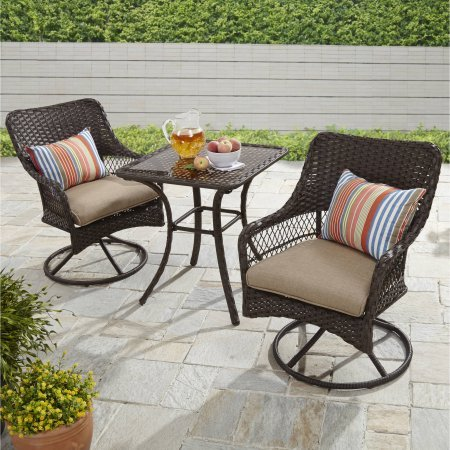 Better Homes and Gardens Colebrook 3-Piece Outdoor Bistro Set, Seats 2 (Tan)