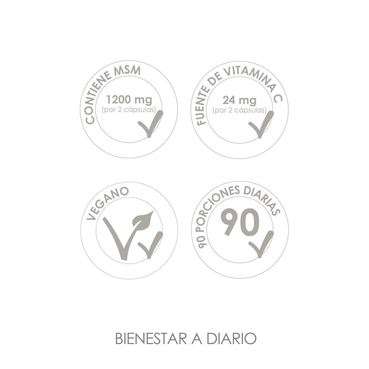 MSM LINEAVI | 1200 mg de metilsulfonilmetano (99,9% puro) | 24 mg de vitamina C | contribuye al funcionamiento normal de huesos y cartílagos | fabricado en ...