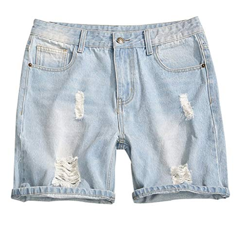 iHPH7 Jeans Shorts Casual Summer Distressed Button up Stretch Ripped with Repair Rips Fashion Big Size Pocket Casual Slim Short Sweatpants Jeans Trousers Pants Men (5XL,5- Blue) ()