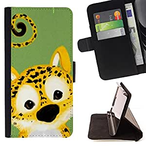 DEVIL CASE - FOR Sony Xperia m55w Z3 Compact Mini - Cute Cheetah Leopard Animal - Style PU Leather Case Wallet Flip Stand Flap Closure Cover