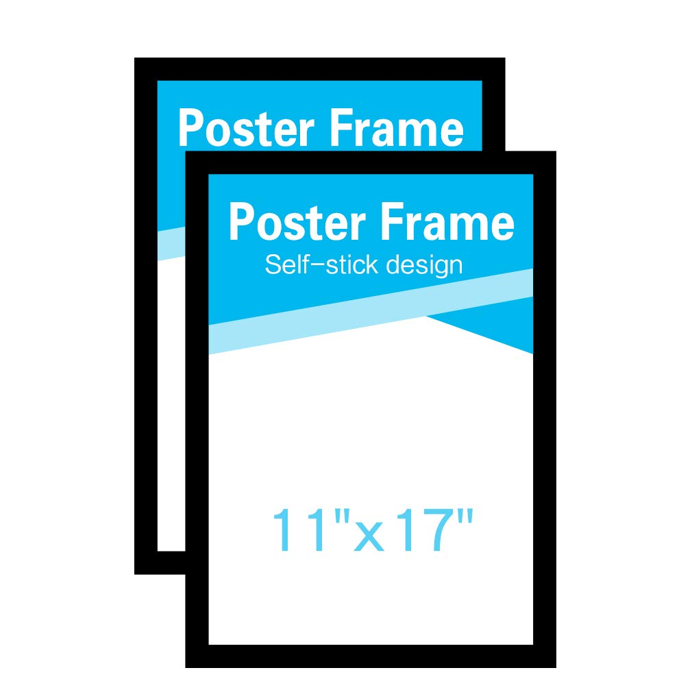MFoffice 11x17 Window Poster Frame Made of Durable PVC and Strong Magnetic,Self Adhesive Display Frame,Black,Pack of 2 by MFoffice