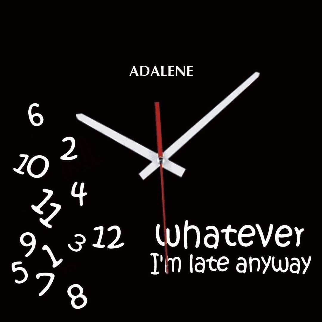 Adalene Whatever Im Late Anyways Clock, Cute Unusual Funny Clock, Unique Wall Clock for Kitchen Office Teacher Classroom Gift - Wall Clocks Battery Operated 12 Inch Silent Non Ticking Whatever Clock