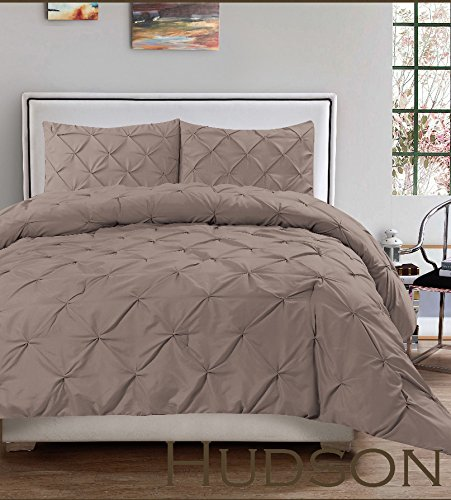 Hudson 3 Piece Pintuck Comforter Set Luxurious Pinch Pleat Wrinkle Resistant Oversized Bedding (King, Taupe) (Oversized Bedding Sets)