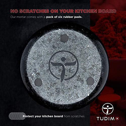 TUDIMO Mortaio e Pestello in 100/% Granito Solido 2,7 kg, Lucido, Nero, Rotondo, Stabile in Imballaggio Protettivo Imbottitura AntiGraffio