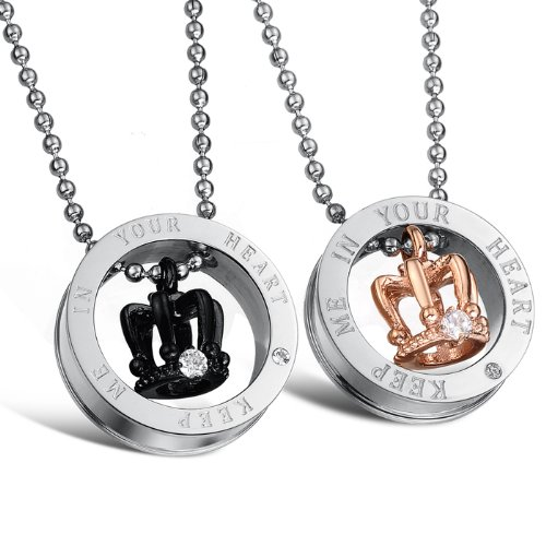 """64dc2b06c7 3Aries Fashion 316L Titanium Stainless Steel """"KEEP ME IN YOUR  HEART"""" King's/"""