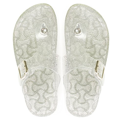 EclaDea Jelly Flip-Flops for Women, Women's Pearl Glitter Jelly [Thong Sandals] Fashion Flip Flops Slip-On Flat Slippers Slide Sandals with Adjustable Buckle Strap, Clear Size 10 M [US Size] - Shoes Clear Slide