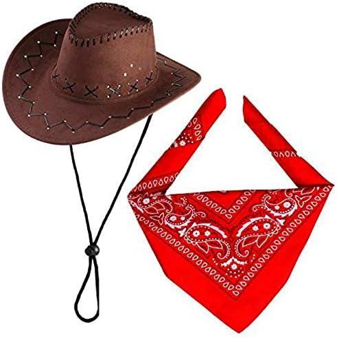 Beefunny Cowboy Hat with Cowboys Accessories-Western Sheriff Bandana Headband Gift Sets para Adultos y niños (café)