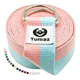 Tumaz Yoga Strap/Stretch Bands [Economy Shipping] for Stretching, Yoga, Pilates, Physical Therapy, Fitness with Sturdy D-Ring Loop & Extra Thick Soft Polyester Cotton (Multi-Colors