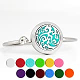 Essential Oil Diffuser Bracelet Stainless Steel Aromatherapy Locket Bracelet Inlaid with Crystal (Waves Style, 12 Felt Pads)