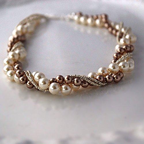 Cream Wedding Twisted Swarovski Element Crystal Chunky Pearl Bracelet Womens Bridal Fashion Jewelry