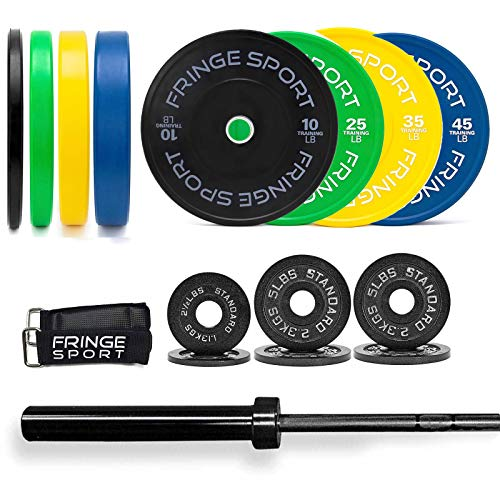 300lb Bar + Weight Set (45lb Olympic Barbell + 255lb Weights Set + Bar Collars) / 2.5/5/5lb Iron Plate Pairs + 10/25/35/45lb Color Coded Bumper Pairs / Weightlifting, Strength, Crossfit Training