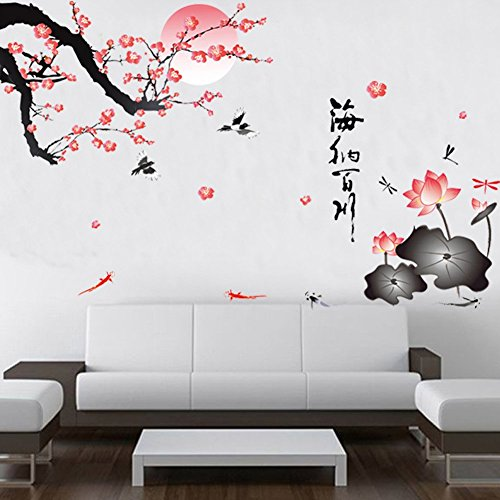 Chinese Decal - BIBITIME All River Into the Sea Plum Blossom Lotus Flowers Birds Chinese Wall Sticker for Living Room Mural art Decal