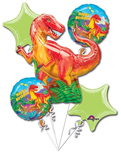 Dinosaur Party Balloon 5 Piece Bouquet (Bouquet Balloon Shaped)