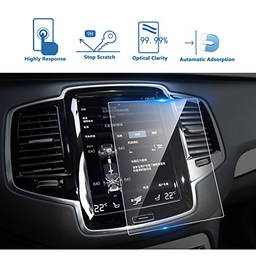 LFOTPP 2016-2018 Volvo V90 XC90 S90 Sensus 8.7 Inch Car Navigation Screen Protector,9H Tempered Glass Infotainment Screen Center Touch Screen Protector Anti Scratch High Clarity ()