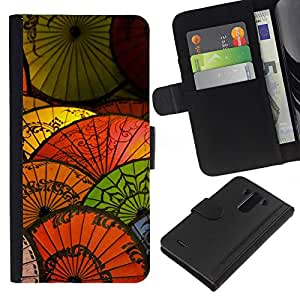 KLONGSHOP // Tirón de la caja Cartera de cuero con ranuras para tarjetas - Oriental de papel china Paraguas japonés - LG G3 //